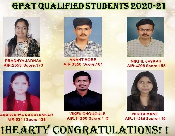 GPAT QUALIFIED STUDENTS 2020-21