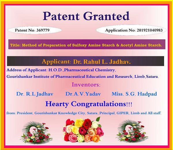 Dr. Rahul L. Jadhav had received patent on Method of Preparation of Sulfoxy Amine Starch & Acetyl Amine Starch.