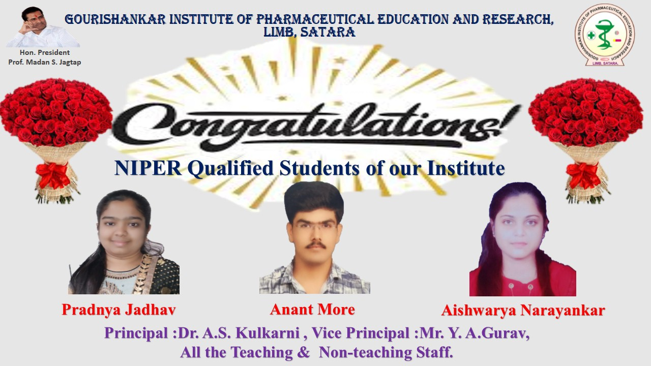 NIPER Qualified Students 2020-21