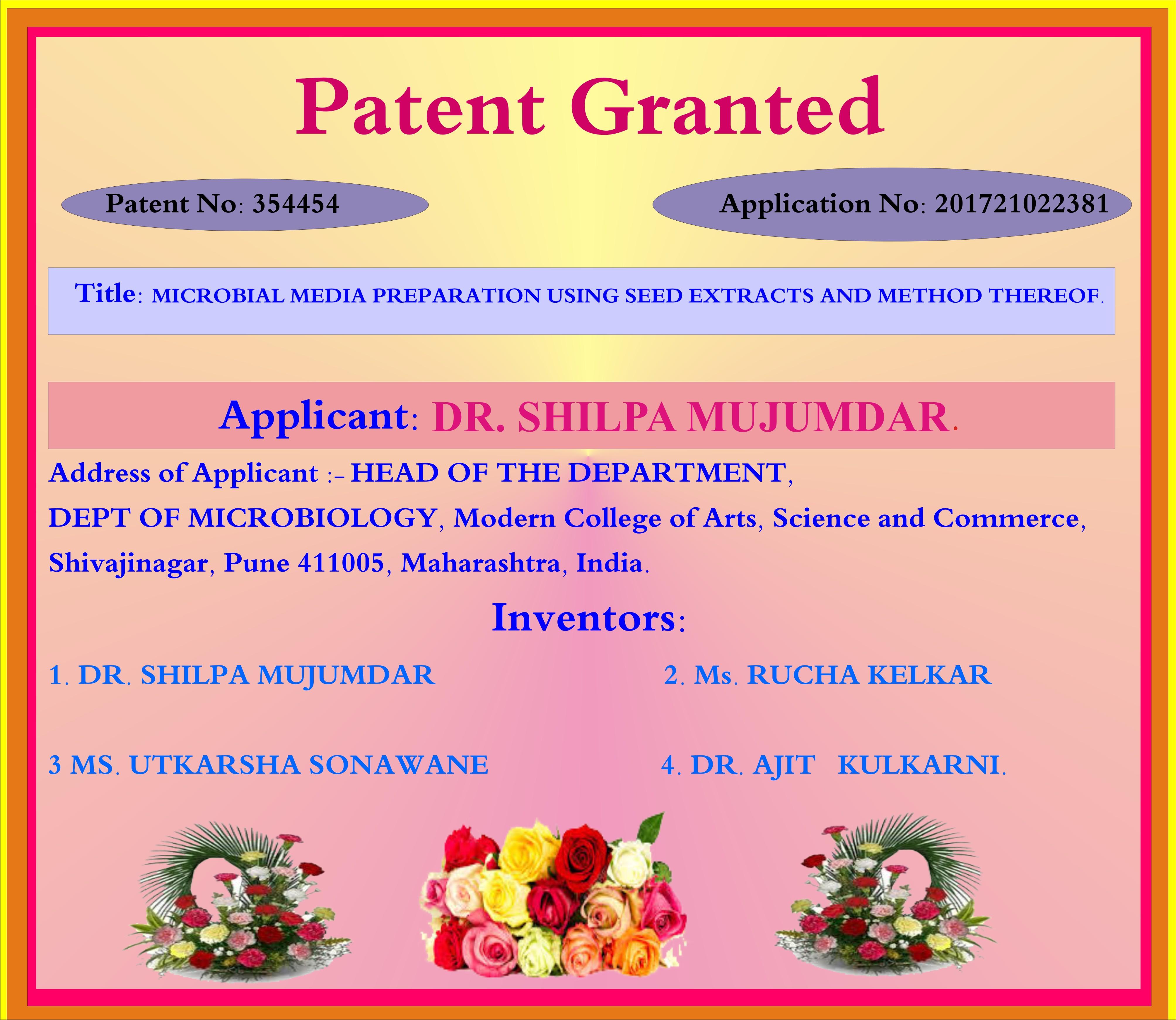 Patent Granted for Principal Dr. Ajit S. Kulkarni