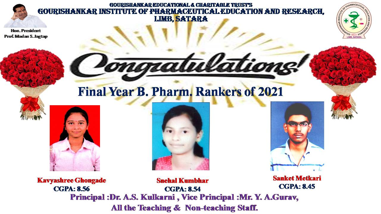 Rankers in Final Year B.Pharm  Exam 2021